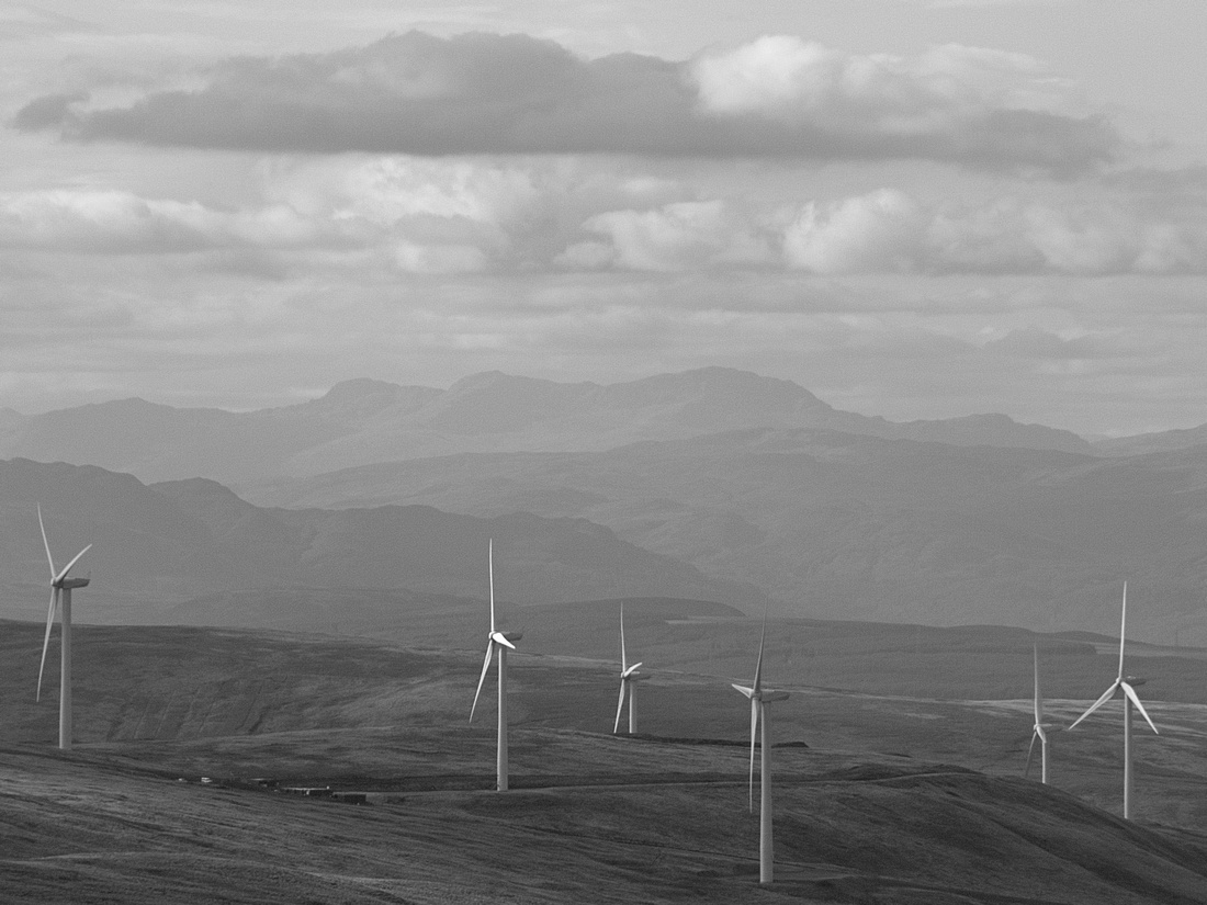 Turbines on Burnfoot Hill Windfarm, Ochil hills
